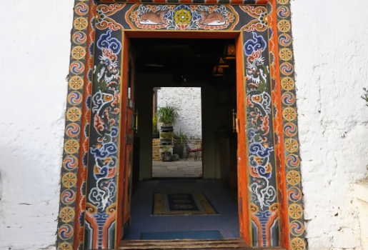 Ornately painted Bhutanese doorway