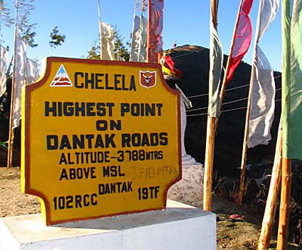 Cycling across Chelela Pass