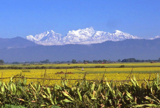 View across Terai Plains from bicycle tour