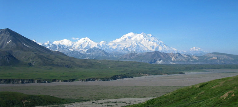 Mt McKinley as seen during a cycling tour into Denali National Park