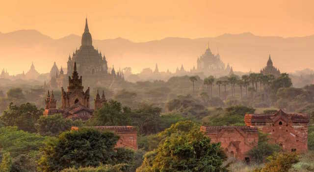 view across Bagan's vast plain of pagodas