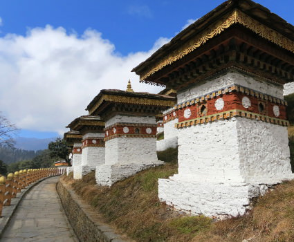 Chortens on top of Dochula Pass