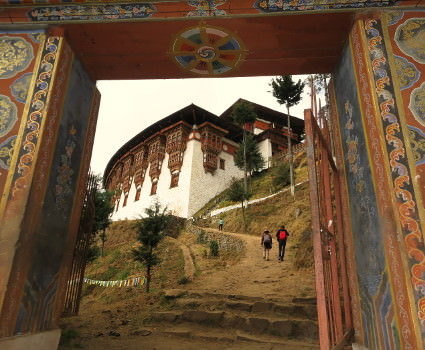View through the gate hiking to Cheri Gompa