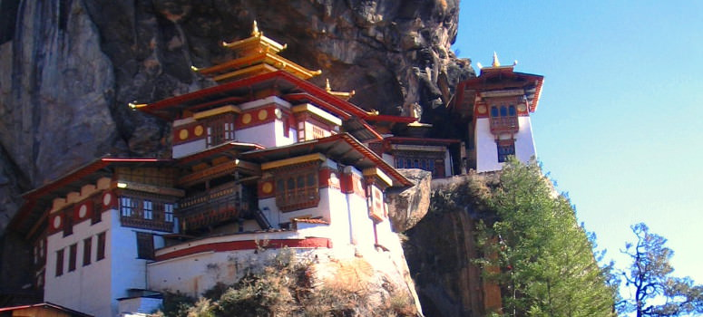 Tigers Nest Monastery seen at end of Bhutna bike tour