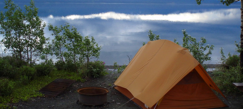 Cyclists favorite camping spot on Kluane Lake