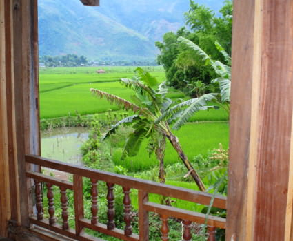 View out the window at our bike tour's hotel in Mai Chau