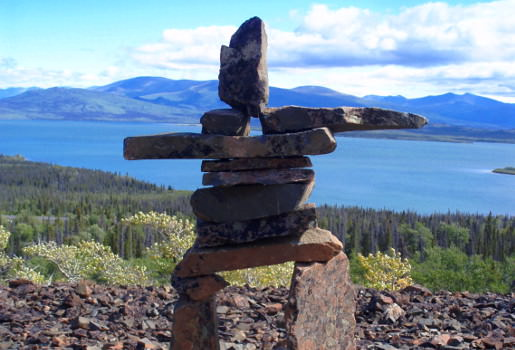 Cairn overlooking Dezadeash Lake
