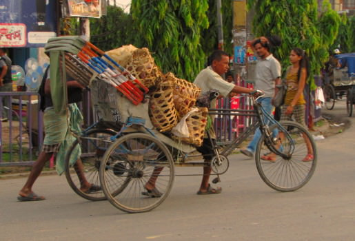 Biking Nepal style, tricycle loaded with vegetables