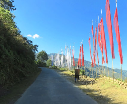 prayer flags along the Bhutan bicycle trip