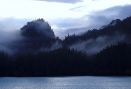 Morning mist shrouding the mountains of Prince William Sound
