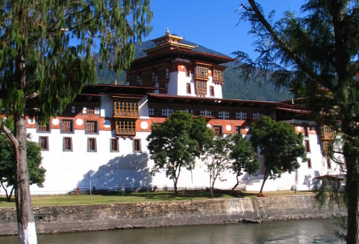 Punakha Dzong view from bike route