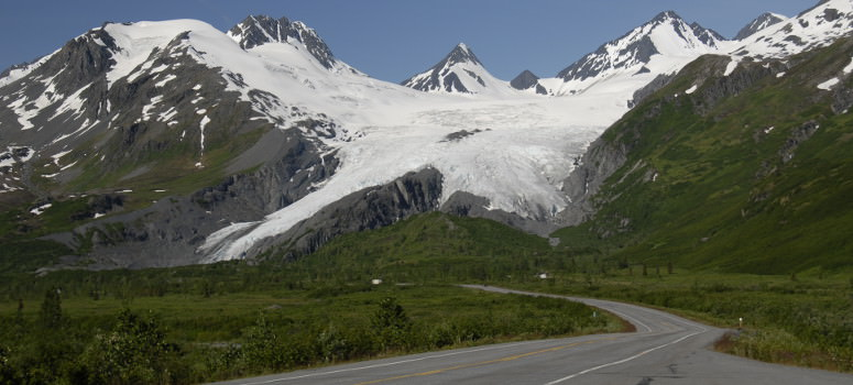 Scenic views of Wrangell Mountain while cycling Alaska