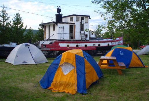 Camping next to a historic river tug