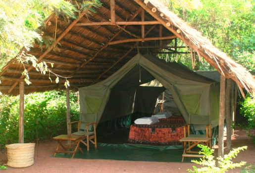Overnight is a tented safari camp