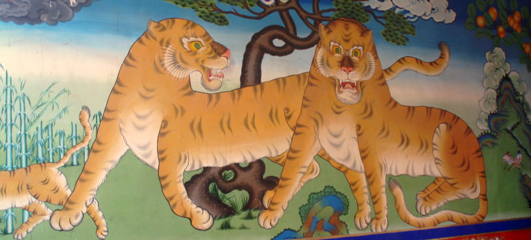 Murals seen during Tibet cycling holiday