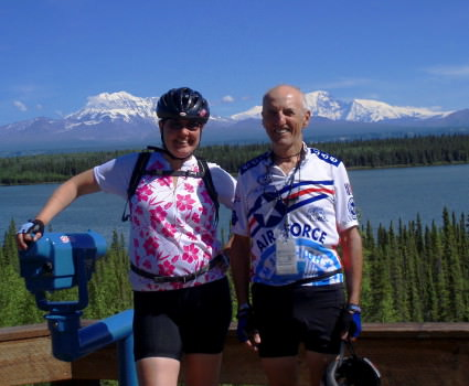 Alaska bike tour guests at Wrangell overlook